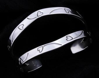 Sterling Silver Split Cuff Heart Balloon Bracelet