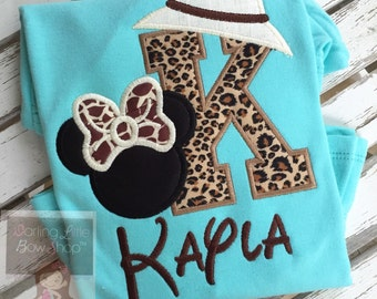 Animal Kingdom shirt, Miss Mouse Safari shirt or bodysuit for girls -- leopard and giraffe print fabrics with safari hat