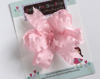 Pink Bow, Pink Hairbow, Pink ruffle hair bow  - layered bow with ruffle ribbon - such a pretty bow to add to her wardrobe