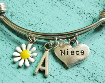 niece gift, gift for niece bracelet, niece charm bracelet, gift from aunt, niece jewelry, birthday gift niece, personalized gift for niece