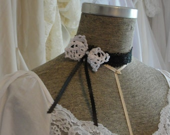 Black lace choker with doily bow and ribbons