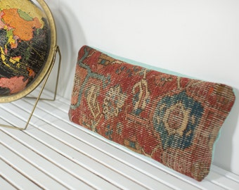 Antique Heriz Rug Fragment Pillow