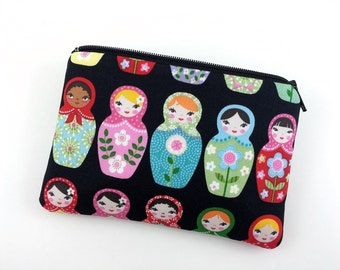 Russian Doll, Zipper Coin Purse, Small Wallet, Notion Pouch, Gift for her, Gift idea, Padded Pouch