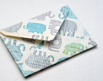 Blue Elephant Mini Cards, Set of 10, Blank Cards, Enclosure Cards, Baby Shower, Gift Card, Favor Card