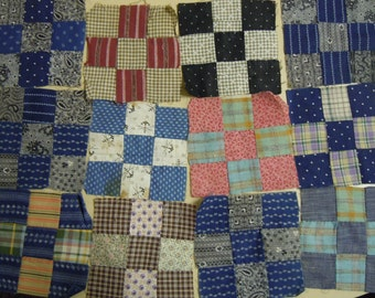 """Quilt blocks:  nine patches 4.75"""" square (12)  late 1800's- early 1900's  cotton scraps  hand pieced"""