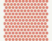 MEGA Flash Sale Fabric by the yard - Mod Basics Poplin - Dottie - Coral - 100% GOTS Organic Cotton Fabric from Birch Fabrics - FREE Shipping