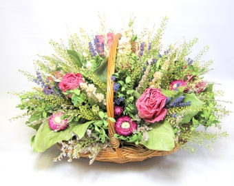 Large Dried Flower Basket Arrangement,  Floral Centerpiece