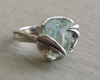 Raw Uncut Rough Blue Aquamarine Ring, Sterling Silver Leaf and Twig Ring, Raw Uncut Twig Aquamarine Ring, One of a Kind Ring