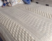 "Hand Knitted Ivory Queen Bed Coverlet Has a Variety of Wonderful Stitches. 85""x83"" Size."