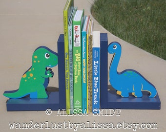Custom Designed Wooden Dinosaur Bookends - Custom Created to Coordinate with Your Decor or Nursery Letters (brontosaurus, tyrannosaurus)