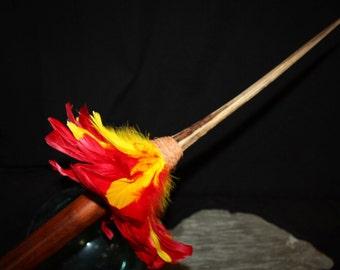 """Thick Koa Spear 36"""" w/ Marlin Bill - Traditional Hawaiian Red/Yellow Feathers   #koa888C"""