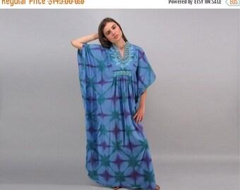 On Sale - Vintage 60s Tie Dye Caftan, Boho Dress, Bohemian Caftan, Hippie, Maxi Caftan Δ fits sizes: xs / sm / md