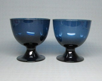 2 blue footed glasses  - maybe holmegaard ? mid century modern