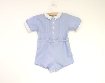 Vintage Baby Clothes, 1940's Sky Blue and White Two Piece Baby Boy Romper, Vintage Baby Romper, Blue Baby Romper, Size 12 Months