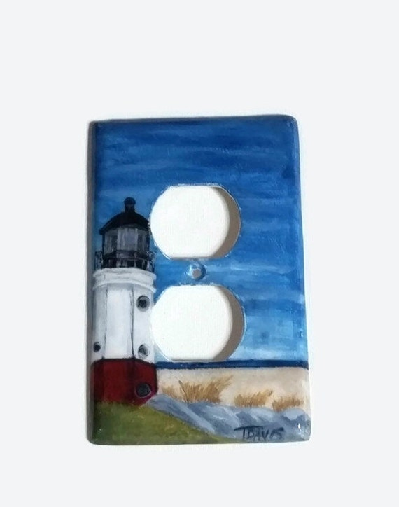 Lighthouse handpainted light switch cover vermilion oh for Lighthouse switch plates