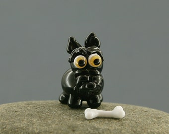 Schnauzer dog miniature sculpture figurine  bead with bone/ fairy garden supply kit terrarium accessory glass lampwork tiny animal pet