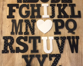 Full Wooden Alphabet - Hand Painted Wooden Letters Set - 26 letters - 12cm high - Rockwell S, I love you