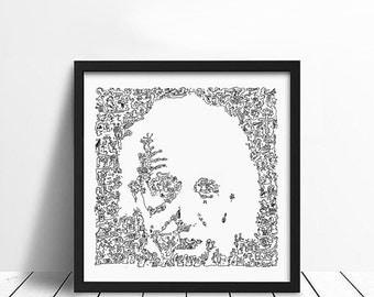 "Albert Einstein -Doodle portrait - funny comic art drawing poster - Ltd Edition of 100 - 8"" x 8"" - genius and brain inside"