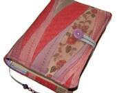 Book Cover, Bible Sleeve, Vintage Kimono Silk, Rose Damask Ribbons Design A, UK Seller