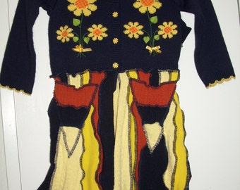 Upcycled Sweater Pixie Coat Girls Sunflowers Blue Orange Yellow