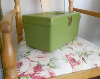 Wil-Hold Vintage Sewing Chest - Tool & Tackle Box - Retro Storage Case in Avocado