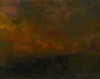 Night Comes to Harkness Hill — Original Oil Painting, Landscape Painting, Abstract Landscape, Original Painting, Abstract Painting, 5 x 7