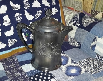Metal Pitcher Van Perch Silver Plate Co. Rochester NY Quadruple Plate Coffee Tea Service Adorned Numbered Early Century Find