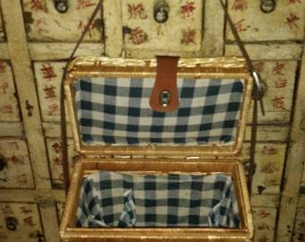 Wicker Basket Picnic Wine Hamper Blue Linen Check Leather Accents by AntiquesandVaria