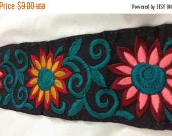15% off 1 Yard Embroidered Ribbon on dupion silk in a gorgeous floral design on a black cbackground