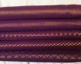 Bundle of purple / eggplant indian silk brocade set of 4 fat quarters
