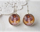 Silver Dangle Klimt Orange Brown Woman Earrings