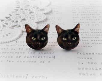 Wooden Black Cat Stud Earrings