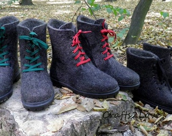 Outdoor felted boots with rubber soles, felted wool. Ankle boots. Felted wool shoes. Organic men shoes.Warm woolen shoes.Made to order