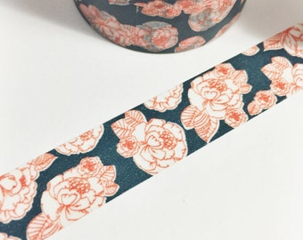 Dark Navy Blue and Bright Red Floral Outlines Red Rose Floral Washi Tape 11 yards 10 meters 15mm