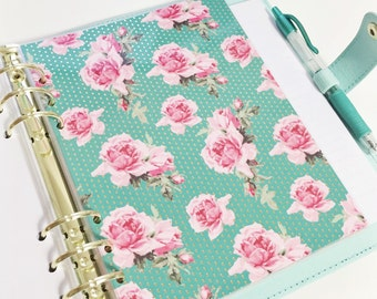 A5 Size Teal With Gold Foil Dots And Vintage Pink Roses Vintage Floral Laminated Dashboard Filofax Large Kikki k Planner