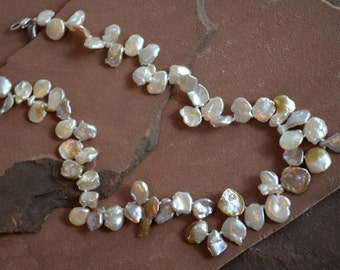 Keshi Pearl Necklace, Pondslime Pearls, Peach Golden Pink Freshwater Pearls, Hand-Knotted