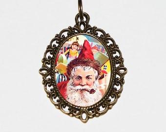Christmas Jewelry, Santa Claus Necklace, Santa Toys, Smoking Pipe, Bronze Oval Pendant