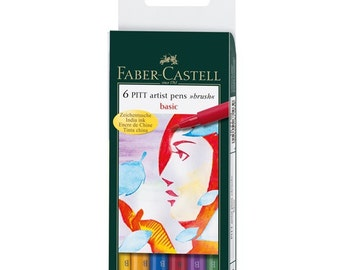 Faber-Castell India Ink PITT Artist Pen B Box of 6 'Basic'