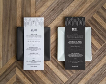 """Printable DIY Food or Drink Menu """"Swanky Bold and Modern"""""""