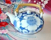 Tsubaki Japanese Teapot, Japan Tea, Asian Pottery, Japanese Dinnerware, Chinoiserie, Blue white Porcelain Authentic Arita Japan Final sale