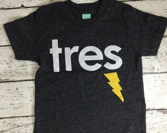 Boys birthday shirt, superhero party, superhero birthday shirt, Lightning bolt shirt, Birthday Shirt, children's tee, tres shirt