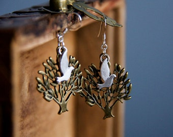 Dove Tree Earrings Peace Dove Earrings Flying Birds Tree of Life Nature Inspired Bird Jewelry Bird on Tree Jewelry - E303