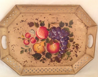 "Vintage Chippy Shabby Metal Tole Tray Hand Painted Fruit Reticulated Edge 20"" x 15"""