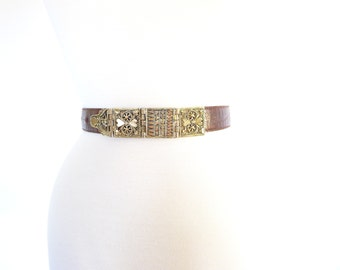Vintage Gold Filigree and Brown Leather Best. Size Extra Small - Small. Skinny Waist Belt. Made in Italy