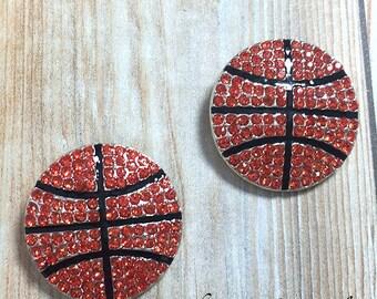 Set of Two - 23mm Basketball Rhinestone Slider - Sports Rhinestone Button - Rhinestone Button - Metal Rhinestone - Wholesale
