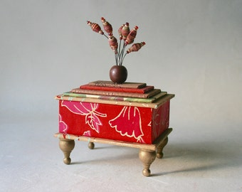Handmade Box in Reds and Golds for Gift and Home or Office Decor