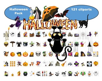 "HALLOWEEN PACK, Instant Download ""121 ITEMS"" Halloween Papers-Clipart set,Transparent Background,  Digital Download, Halloween Pages, Supply"