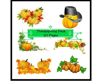 "Thanksgiving Pack ""20 Pages"" Large Decorative Elements, Thanksgiving Cornucopia Image, Autumn Image, Fall Decor Cutout, Pumpkin Template"