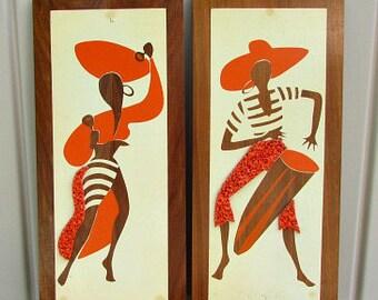 vintage 50s brazilian caribbean dancers wall plaques 2 plastic popcorn wall art  free shipping