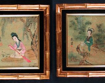 Pair Framed Original Asian Girls in Kimonos, Boating and Meditation, Watercolors Inkwash Signed